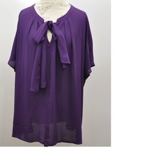 Lane Bryant Purple Short Sleeve Sheer Flowy Blouse